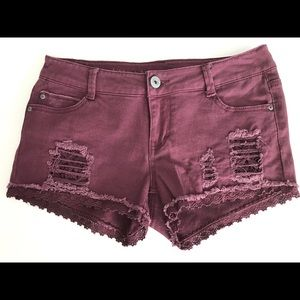NWOT Vanilla Star Premium distressed plum shorts